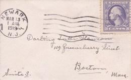 USA - 1919  - ENVELOPPE PETIT FORMAT CARTE DE VISITE  DE NEWARK ( NEW JERSEY ) A BOSTON ( MASSACHUSETTS ) - Covers & Documents