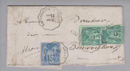 Heimat France Bahnlinie Hazebrouck A.Arras 1879-11-29 Brief 5+5+15Cents Nach Buchsweiler - 1876-1898 Sage (Type II)