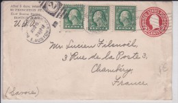 USA - 1915  - ENTIER POSTAL - ENVELOPPE  - DE BOSTON ( MASSACHUSETTS ) A CHAMBERY (FRANCE )