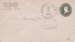 USA - 1913  - ENTIER POSTAL - ENVELOPPE  - DE  SOUTH HINGHAM ( MASSACHUSETTS ) A SOUTH HINGHAM