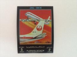 Émirats Arabes Unis Ajman JAL DC8 Plane Avion Unperforated Non Dentellé Neuf - Ajman