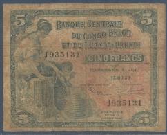 #07. BELGIAN CONGO / CONGO BELGE. BANQUE CENTRALE DU CONGO BELGE ET DU RUANDA- URUNDI. 5 FRANCS. 15/9/1953. - [ 5] Belgian Congo