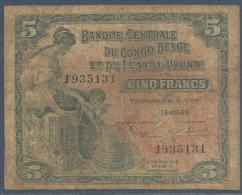 #07. BELGIAN CONGO / CONGO BELGE. BANQUE CENTRALE DU CONGO BELGE ET DU RUANDA- URUNDI. 5 FRANCS. 15/9/1953. - [ 5] Congo Belge