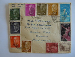 Spanje Espagne Spain Brief Lettre Letter 1967 Pour L'Australie Timbres Franco Centenaire Télégraphe Yv 875 Expres 33 - 1931-Aujourd'hui: II. République - ....Juan Carlos I