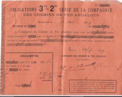 Chemins De Fer Andalous /Espagne/ Obligation/Certificat De Réception De Paiement De  Coupons/1899   ACT 51 - Chemin De Fer & Tramway