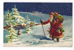 VIEILLE FANTAISIE FÊTES ILLUSTRATEUR Non Signé : Vive Saint Nicolas Enfant Père Noël Lapins Hotte Jouets Poupons - Otros