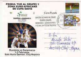 TENNIS, DAVIS CUP, ROMANIA- DENMARK GAME, POSTCARD, 2013, ROMANIA - Tennis