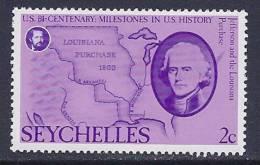 Seychelles, Scott  #372 MNH US Bicentinnial, 1976 - Seychelles (1976-...)