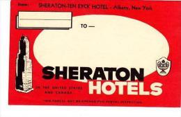 NEW YORK ALBANY SHERATON TEN EYCK HOTEL VINTAGE LUGGAGE LABEL - Hotel Labels