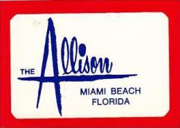 FLORIDA MIAMI BEACH ALLISON HOTEL VINTAGE LUGGAGE TAG - Hotel Labels