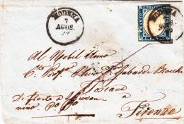 IV Emissione Di Sardegna Cover 20 Ct 1860. Fron Modena To Firenze Co 7 Agosto - Sardinia