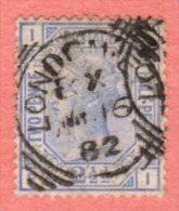"""GB SC #82 U PLT #22 1881 Queen Victoria  W/SON (""""LONDON / ?? 16 82"""") W/some Discolorization, CV $40.00 - 1840-1901 (Victoria)"""