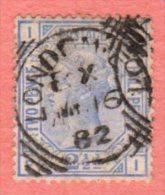 "GB SC #82 U PLT #22 1881 Queen Victoria  W/SON (""LONDON / ?? 16 82"") W/some Discolorization, CV $40.00 - Used Stamps"