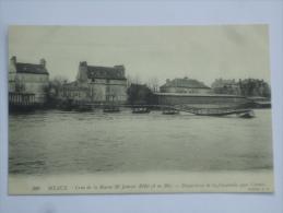 MEAUX ( 77 ) CRUE DE LA MARNE 26 JANVIER 1910 ( 6m20 ) DISPARITION DE LA PASSERELLE QUAI CARNOT CPA  206 - Meaux