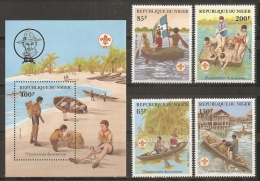SCOUTS - NIGER 1982 - Yvert #576/79+H38 - MNH ** - Movimiento Scout