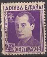 FET37-LM096TAN.Espagne.Spain.España.JOSE ANTONIO PRIMO DE RIBERA.Falange.1938. (Galvez 37*)en Nuevo.RARO - 1931-50 Nuevos & Fijasellos