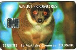 ***Télécarte S.N.P.T COMORES Le MAKI   25Unités  Vide  TB  A Saisir *** N° Lot :00052628 - Comores