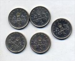 Lot Piece 5 Pence 1994, 1990, 1995, 1990, 1990 - 1971-… : Monnaies Décimales