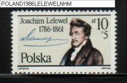 POLAND 1986 200 YEARS BIRTH ANNIVERSARY OF LELEWEL NHM Writer Author Historian Politician History Marx Engels - Writers