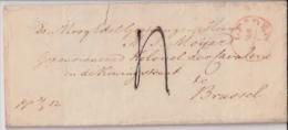 PAYS-BAS -BELGIQUE:1852:Lettre De LEYDEN Vers Brussel.+ Texte En Néerlandais.Voir Oblitérations. - ...-1852 Vorläufer