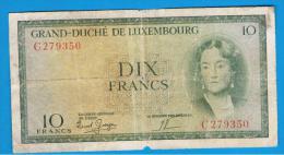 LUXEMBURGO -  10 Francs ND  P-48  Serie C - Luxemburgo