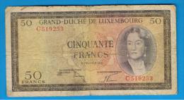 LUXEMBURGO -  50 Francs 1961  P-51  Rotura - Luxemburgo