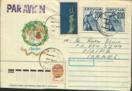 LATVIJA PAR AVION X ISRAEL 1992 - Lettonia