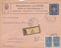 Austria Cover: 1923 Wien Registered To Leipzig - Dresden And Leipzig Cachet On Back  (A002A) - 1918-1945 1. Republik