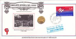 France Medal Cover: 1989 Bicentenaire De La Revolution FDC  (A002A) - Franz. Revolution