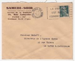 ENVELOPPE PUBLICITE / SAMEDI SOIR / PARIS / RUE LAFAYETTE / PRESSE /OBLITERATION / 26 VII 1945 / HAVAS AGENCE / LE HAVRE - 1921-1960: Periodo Moderno