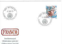 TH - 3887 - Enveloppe Avec Oblit Spécaile Congrès Météorologique Mondial - Genève 1991 (Suisse) - Climat & Météorologie