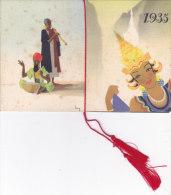 """CALENDARIETTO """"DANZE ESOTICHE""""  FIRMA BASSINI L. PROFUMERIA LANZA ROMA FOLKLORE   1935 -2-  0882 -17485-484 - Calendriers"""
