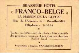 BRASSERIE-HOTEL Franco-Belge à Bruxelles-Midi (La Maison De La Gueuze) - Cartes De Visite