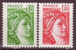 FRANCE - 1978 - YT N° 1970 + 1972 -** - TB - 1er Tarif Lent / Rapide - 1977-81 Sabine Van Gandon