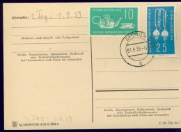 DV7-106 EAST GERMANY, DDR 1959 POSTAL CARD WITH MI 713-714 FDC STEMPEL, 75th ANNI JENA GLAS INDUSTRY. - Vetri & Vetrate