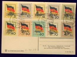 DV7-107 EAST GERMANY, DDR 1959 POSTAL CARD WITH MI 722-731 10th ANNI GERMAN DEMOCRATIC REPUBLIC. - Vlag