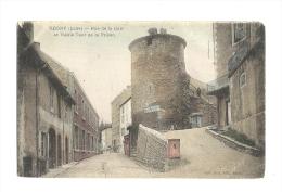 Cp, 42, Régny, Rue De La Gare, Et Vieille Tour De La Prison - Frankrijk