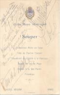 MENU 25 DE MAYO 1810-1908 HOTEL REGINA PARIS SOUPER SIGNEE M. F. DE ANCHORENA, AUTRE, CARIDAD DEL CASTILLO HELENE DU FER - Menus
