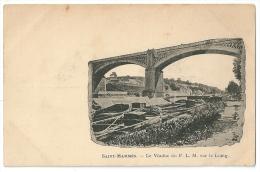 Cpa: 77 SAINT MAMMES (ar. Melun) Le Viaduc Du P.L.M. Sur Le Loing (Péniches) - Saint Mammes