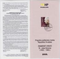 CROATIA OFFICIAL COMMEMORATIVE PROSPECTUS POSTAGE STAMP 2005 FAMOUS CROATS HISTORIES WRITER DR.JOSIP BUTURAC - Schrijvers