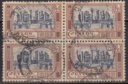 Ceylon Used 1950, Block Of 4, Ruins Of Madrigiriya, Buddhism, Buddhist,  History, Monument - Buddhism
