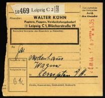 A2061) DR Selbstbucherpaketkarte Von Leipzig 23.6.1944 Mit Registrierkassenstempel - Deutschland