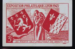 EXPOSTION PHILATELIQUE DE LYON 1943 AU PROFIT DES SINISTRES DE BREST - Francia