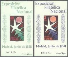ESPAÑA 1958 - Edifil #1222/23 - MLH * - 1951-60 Nuevos & Fijasellos