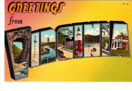 Virginia Greetings From Large Letter Linen