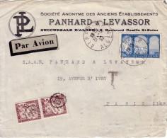 ALGERIE - ALGER - LETTRE AVION POUR PARIS - AFFRANCHISSEMENT A 1F50- TAXE 1F AVEC CACHET DE FACTEUR-DEVANT DE LETTRE - Algérie (1924-1962)