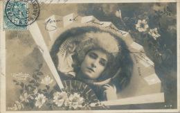 FEMMES - FRAU - LADY - SPECTACLE - Jolie Carte Fantaisie Portrait Femme Artiste Dans éventail - LAURE FLEUR - Women