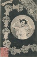 """FEMMES - FRAU - LADY - Jolie Carte Fantaisie Portrait Femme """" LES DENTELLES - Point De Venise """" - Edit. BERGERET - Women"""