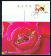 NORTH KOREA 2013 BEES POSTCARD CANCELED - Abeilles