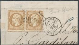 Lot N°22335   Variété/Paire Du N°21/Fragment,Oblit GC 2360 MILLAU(11), Grosse Tache Blanche Derierre La Tête 1é Timbre - 1862 Napoleon III